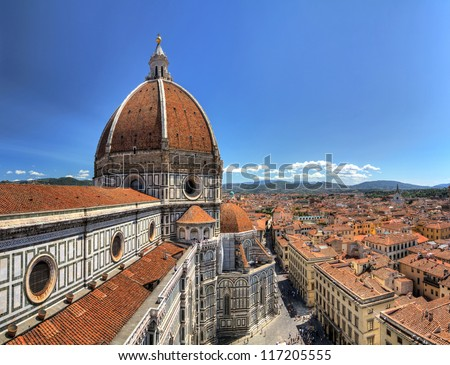 Wide angle HDR view on the Florence Cathedral from the Bell tower next to it, in Florence, Italy - stock photo