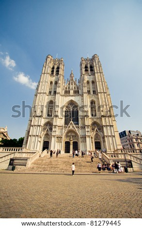 Wide angle horizontal shot of the cathedral in Brussels - stock photo