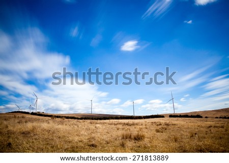 Wide angle image of a windfarm in Australia - stock photo