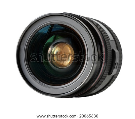 Wide angle lens isolated on white background - stock photo