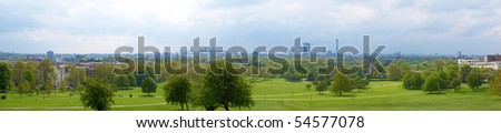 Wide angle London panorama skyline seen from Primrose hill - stock photo