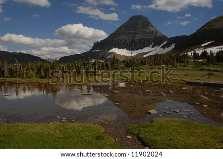 Wide angle of mountain lake - stock photo