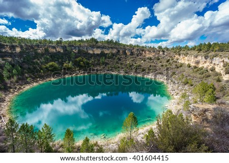 Wide angle of round lake in palancares, Cuenca - stock photo