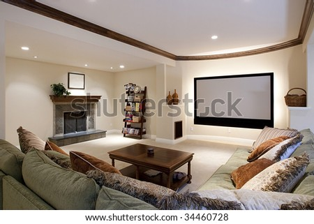 Wide angle of theater room - stock photo