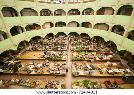 wide angle photo of site Khatijah market at ketantan, malaysia - stock photo
