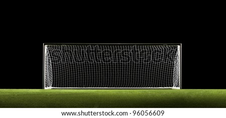 Wide Angle photo of Soccer Goal or Football Goal - stock photo