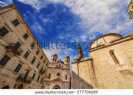 Wide angle photo of St. Nicholas church on St. Luke square in Kotor old town, Montenegro - stock photo