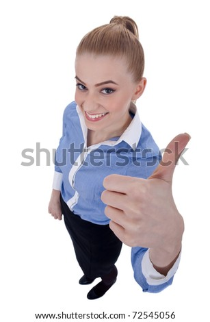 wide angle picture of a happy successful business woman making ok sign - stock photo