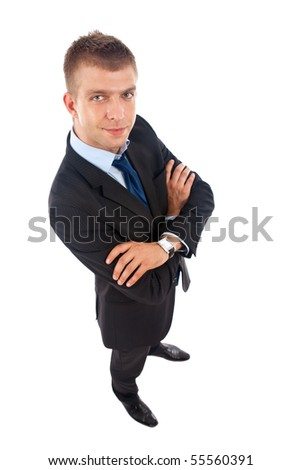 wide angle picture of a young business man over white - stock photo