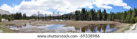 Wide angle picture of Tuolumne Meadows on sunny day - stock photo