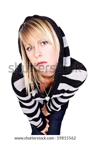 Wide Angle Shot of a Beautiful Blonde Girl in Black and White Stripped Hooded Top Leaning into Camera - stock photo