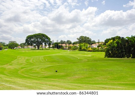 Wide angle shot of a beautiful golf course