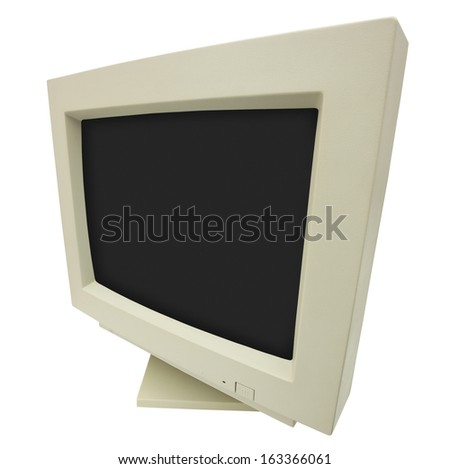 Wide angle shot of CRT monitor isolated on white with clipping path - plain dark screen for copy - stock photo
