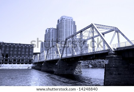 Wide angle shot of Downtown Grand rapids - stock photo