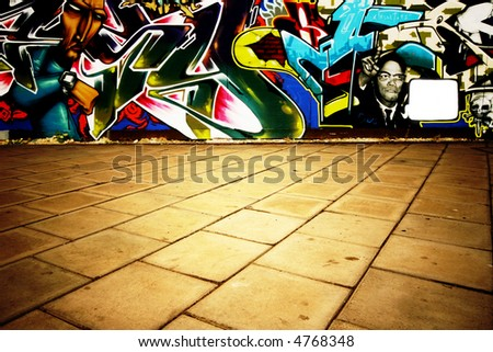Wide angle shot of graffiti - stock photo
