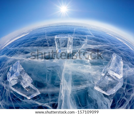 Wide-angle shot of  Icehange - stonehenge made from ice on lake Baikal in Sineria under winter Sun - stock photo