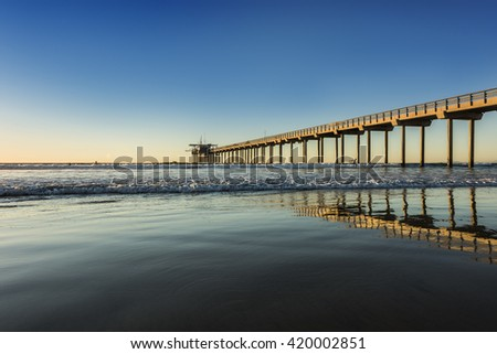 Wide angle shot of Scripps Pier during sunset in La Jolla, San Diego, California - stock photo