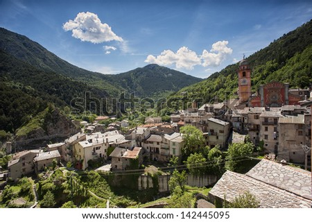 Wide angle shot of the town of Tende, high in the southern Alps in the French Mercantour National Park and Roya Valley. This French town once belonged to Italy.  - stock photo