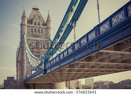Wide angle shot of Tower Bridge in Central London - stock photo
