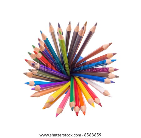 wide angle top view of assorted color pencils disposed in circle in a cup - stock photo