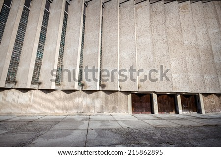 Wide angle view of an old wall with a lot of architectural features - stock photo