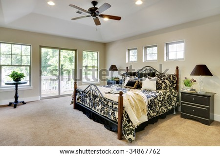 Wide angle view of bedroom