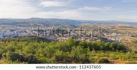 Wide angle view of Branza and Fort Castillo in Portugal.