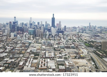 Wide-angle view of Chicago's skyline - stock photo