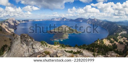 wide angle view of Crater Lake form the top of Watchman's Peak, beautiful landscape in Oregon - stock photo