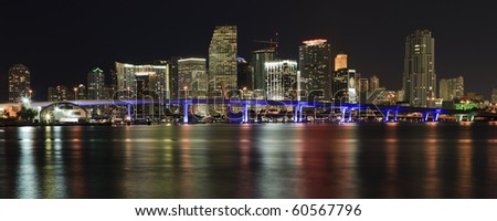 Wide angle View of Downtown Miami and Biscayne Bay in the evening with colored reflections of the skyscrapers in the bay. - stock photo