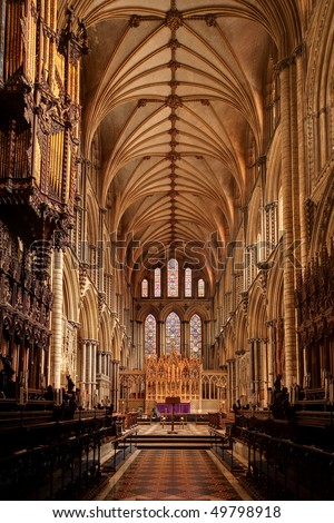 Wide angle view of Ely Cathedral interior - stock photo