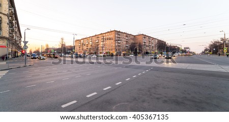Wide angle view of evening crossroad in Moscow - stock photo