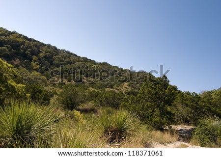 Wide angle view of Hill County State Natural Area, Bandera Texas. - stock photo