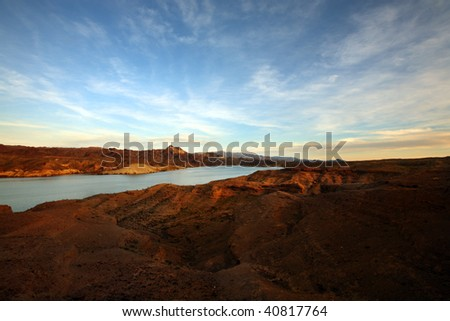 Wide angle view of Lake Mead, Nevada USA, taken at sunset - stock photo