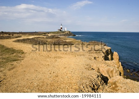 Wide Angle view Of Montauk Point Lighthouse on Long Island, New York. - stock photo