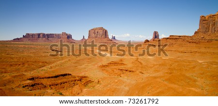 wide angle view of Monument Valley, Utah, USA - stock photo