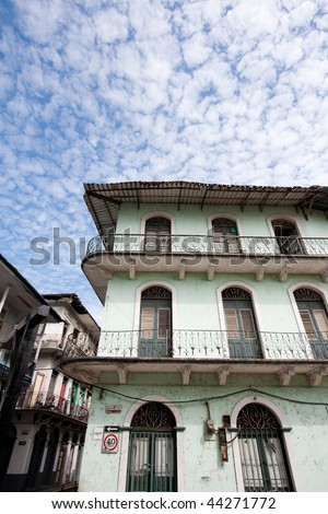 Wide angle view of old, decaying buildings in Casco Viejo. Panama City, Panama, Central America. - stock photo