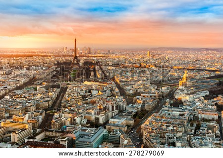 Wide angle view of Paris at twilight. France. - stock photo