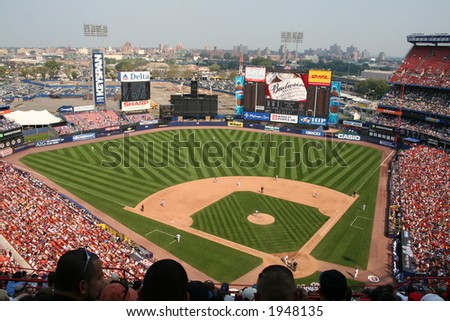 Wide angle view of Shea Stadium - stock photo