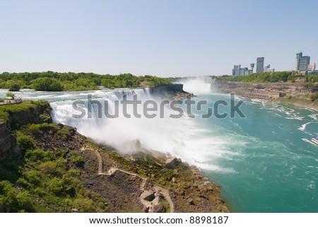Wide angle view of the American Falls