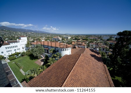 Wide angle view of the City of Santa Barbara from the Old Courthouse - stock photo