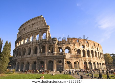 Wide angle view of the Colosseum in Rome, Italy.