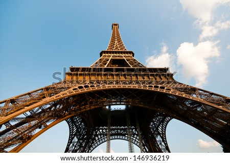 Wide angle view of the Eiffel tower, Paris - stock photo