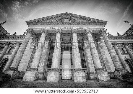wide angle view of the entrance of the Reichstag building, seat of the German Parliament (Deutscher Bundestag), Berlin, Germany, Europe, Black and white