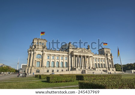 wide angle view of the German parliament (Reichstag) building in Germanys capital Berlin, Europe, - stock photo