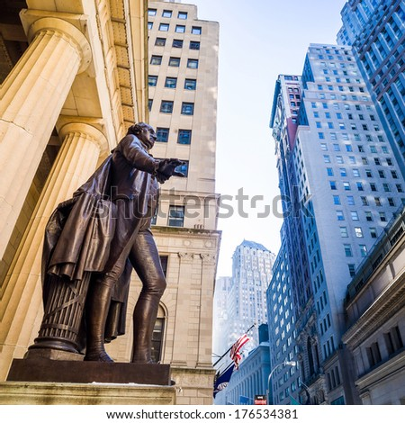 Wide-angle view of the New York Stock Exchange wall street - stock photo