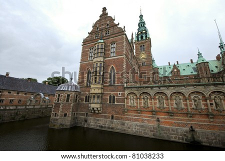 Wide-angle view on the enormous Frederiksborg palace, one of the homes of the Danish royal family