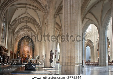 Wide angle view on the interior of Antwerp Cathedral, largest gothic church in the low countries