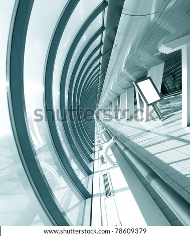 wide angle view to modern hall with white placard - stock photo