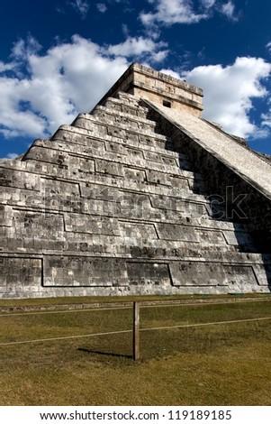 Wide-Angle view up the Mayan pyramid of Kukulkan at Chichen Itza, Yucatan, Mexico. - stock photo
